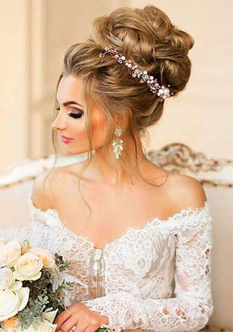 Hairstyles for bride with veil for medium hair – more affordable prices