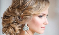 Wedding topknot with elements of weaving