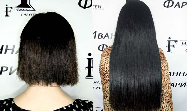 Hair extensions without visible transition by natural hair